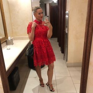 😘 Red elegant lace dress wedding party event M